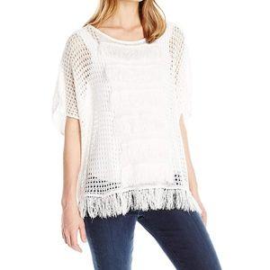 Trina Turk Anja Fringed Poncho Sweater Large White